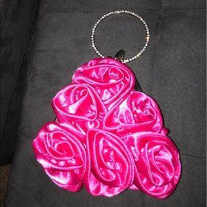 Handbags - HOT PINK SATIN ROSES SMALL PURSE RHINESTONE HANDLE